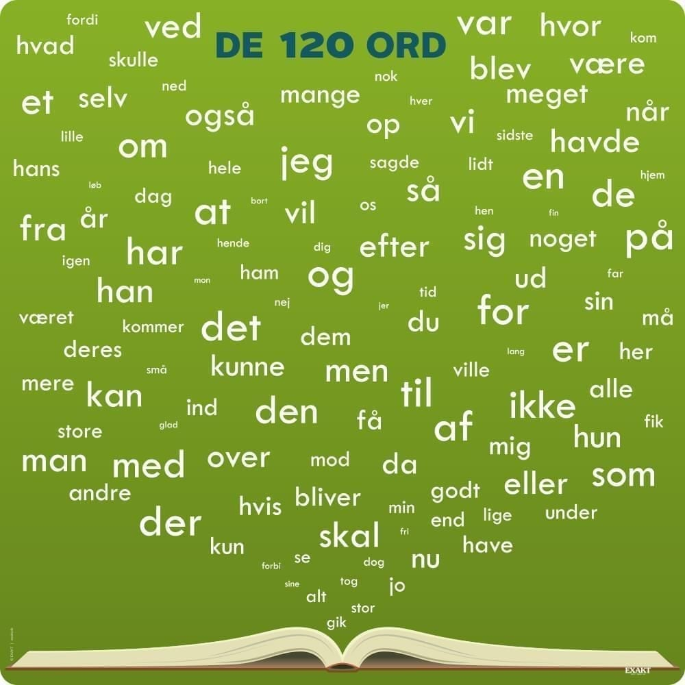 De 120 ord, dansk - Skilteplade-25100