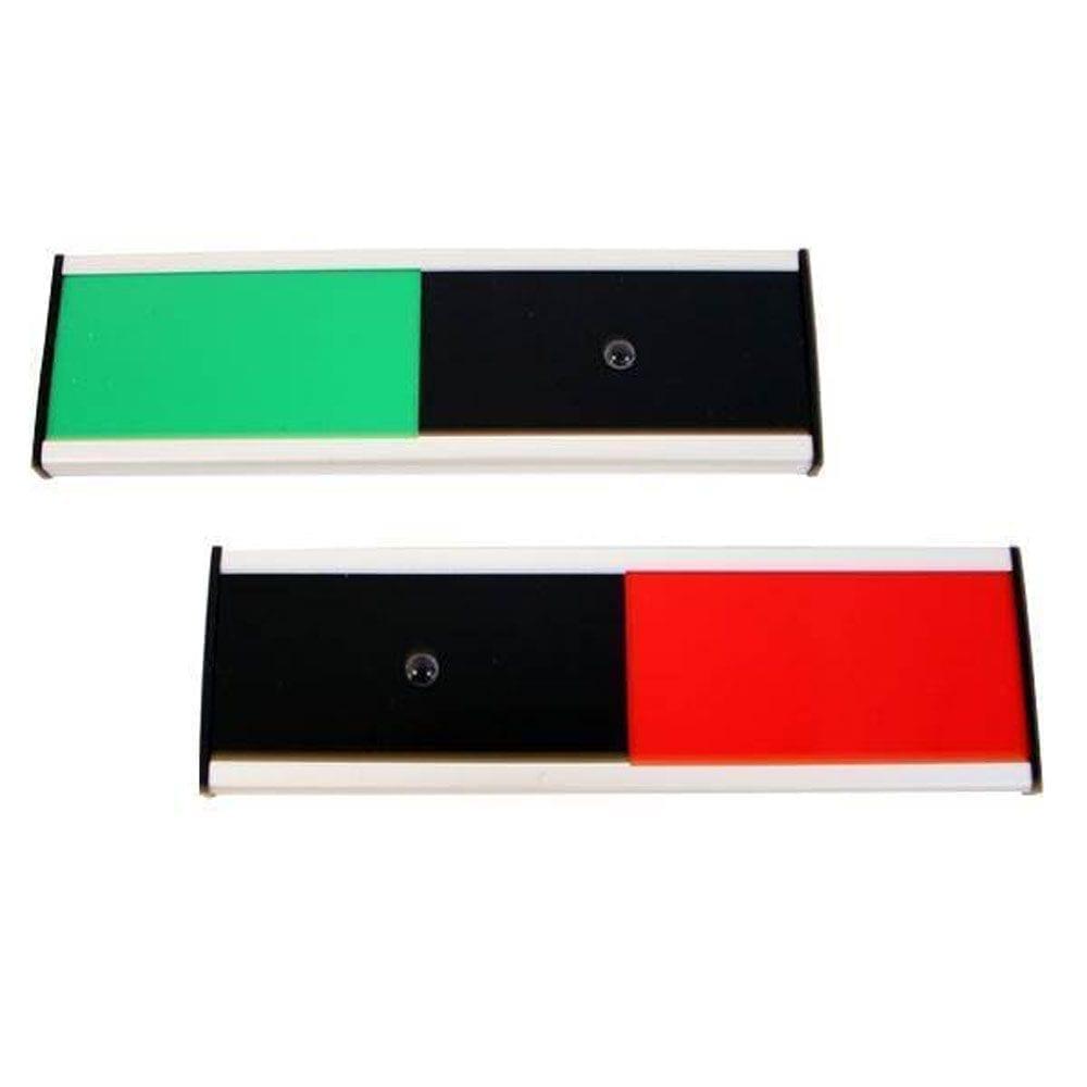 Mødeskilt Klassisk med rød/grøn skyder - 6,2 x 20 cm-0