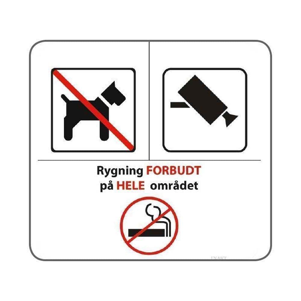 Hunde og rygning er forbudt og området er videoovervåget - 25 x 25 cm-0