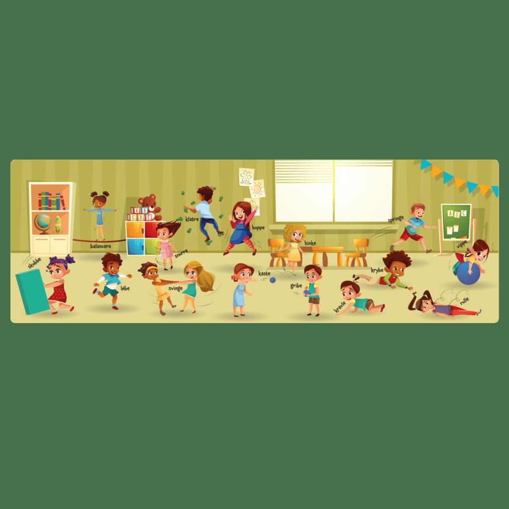 Læringstavle med lang række motorikøvelser til børnene i daginstitutionen. Inspirer til sund og lærerig leg i legeområderne.