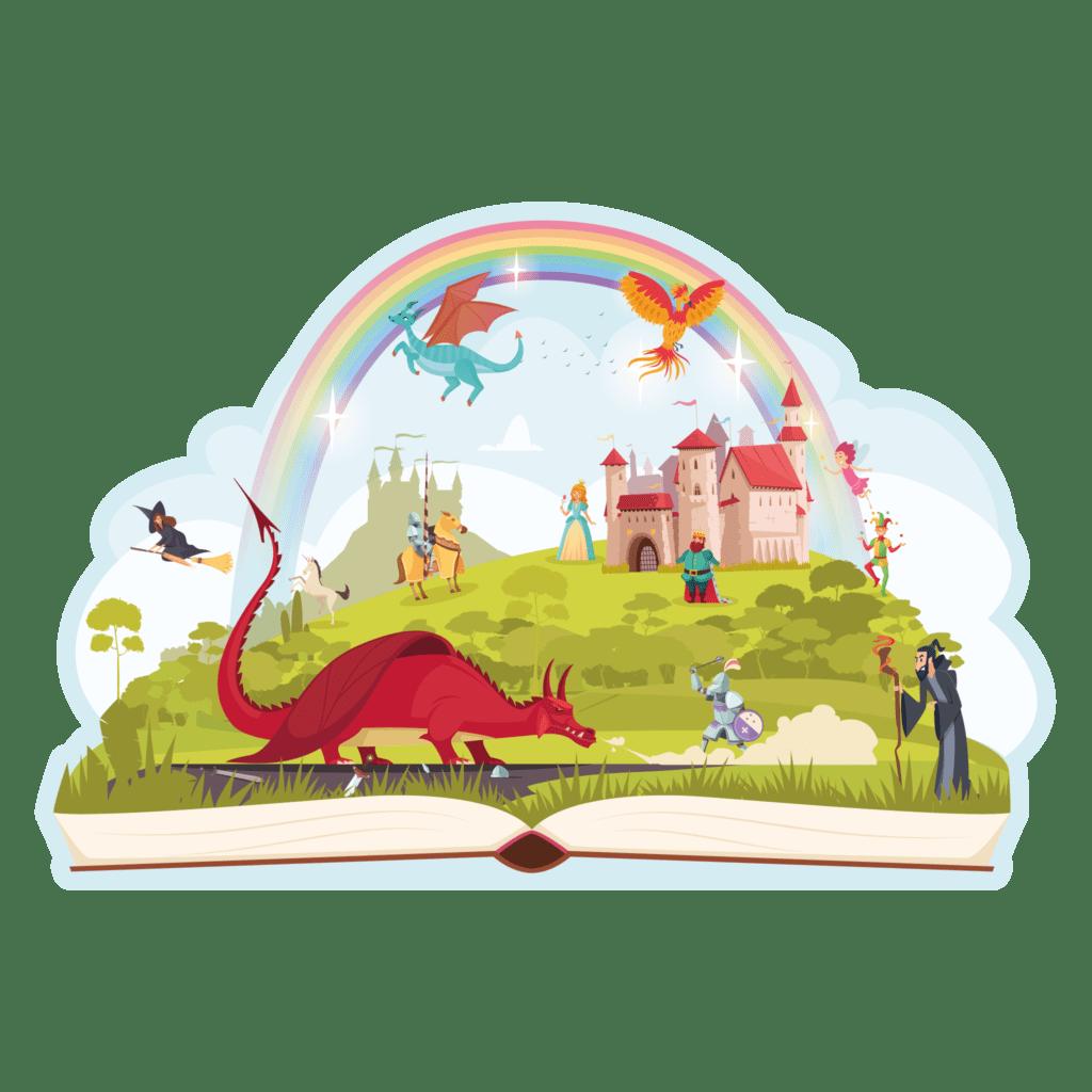 Konturskåret læringstavle med illustration af Eventyrland med drager og ædle riddere. Til læringsområderne i daginstitutionen.