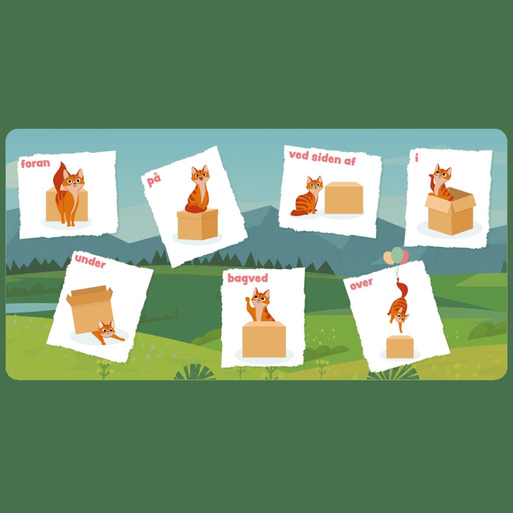 Læringstavle med forholdsord. Sjov måde at visualisere forholdsord og gøre læringen intuitiv for børnene i daginstitutionen.