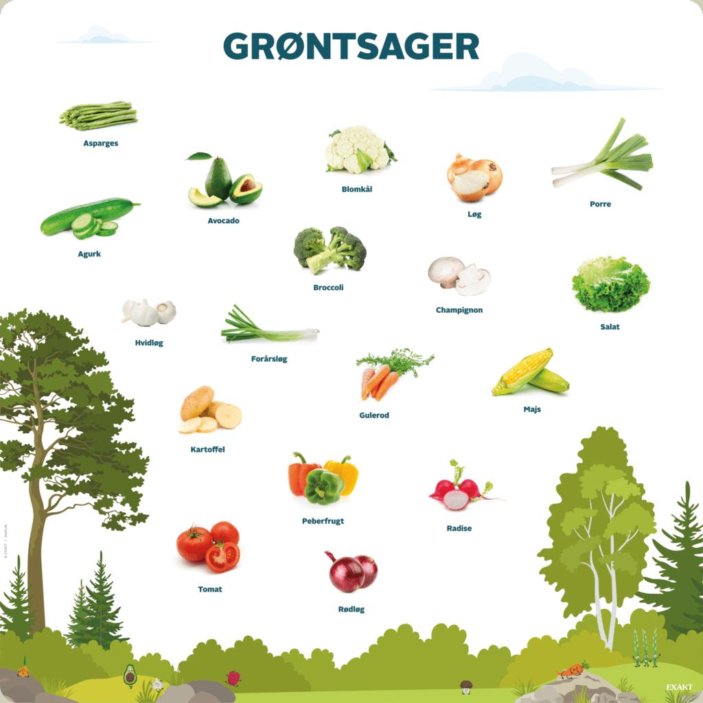 Læringstavle med grøntsager. Viser en lang række grøntsager, som børnene i daginstitutionen spiser og ser til hverdag.