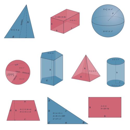 Geometriske figurer med areal og rumfang - Skilteplade, 10 stk.-0