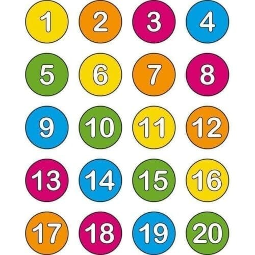 Runde tal, 1-20 - Vinduesfolie-0