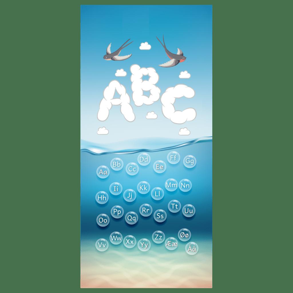 Dørfolie med flot, visuel illustrering af alfabetet i bobler med hav baggrund til daginstitutionen. Store og små bogstaver.