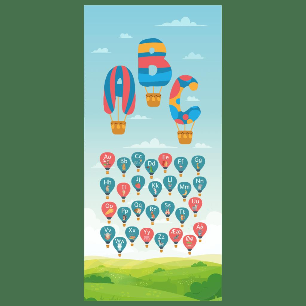 Dørfolie til daginstitutionen med illustration af himmel med luftballoner, der indeholder et stort og småt bogstav.