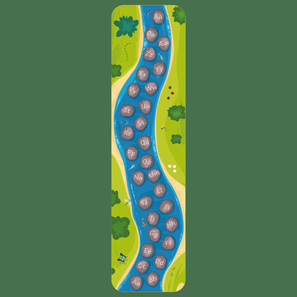 Gulvfolie med illustration af alfabetflod. Folien er perfekt som hinkebane og inddrager leg som aktiv del af læringen.