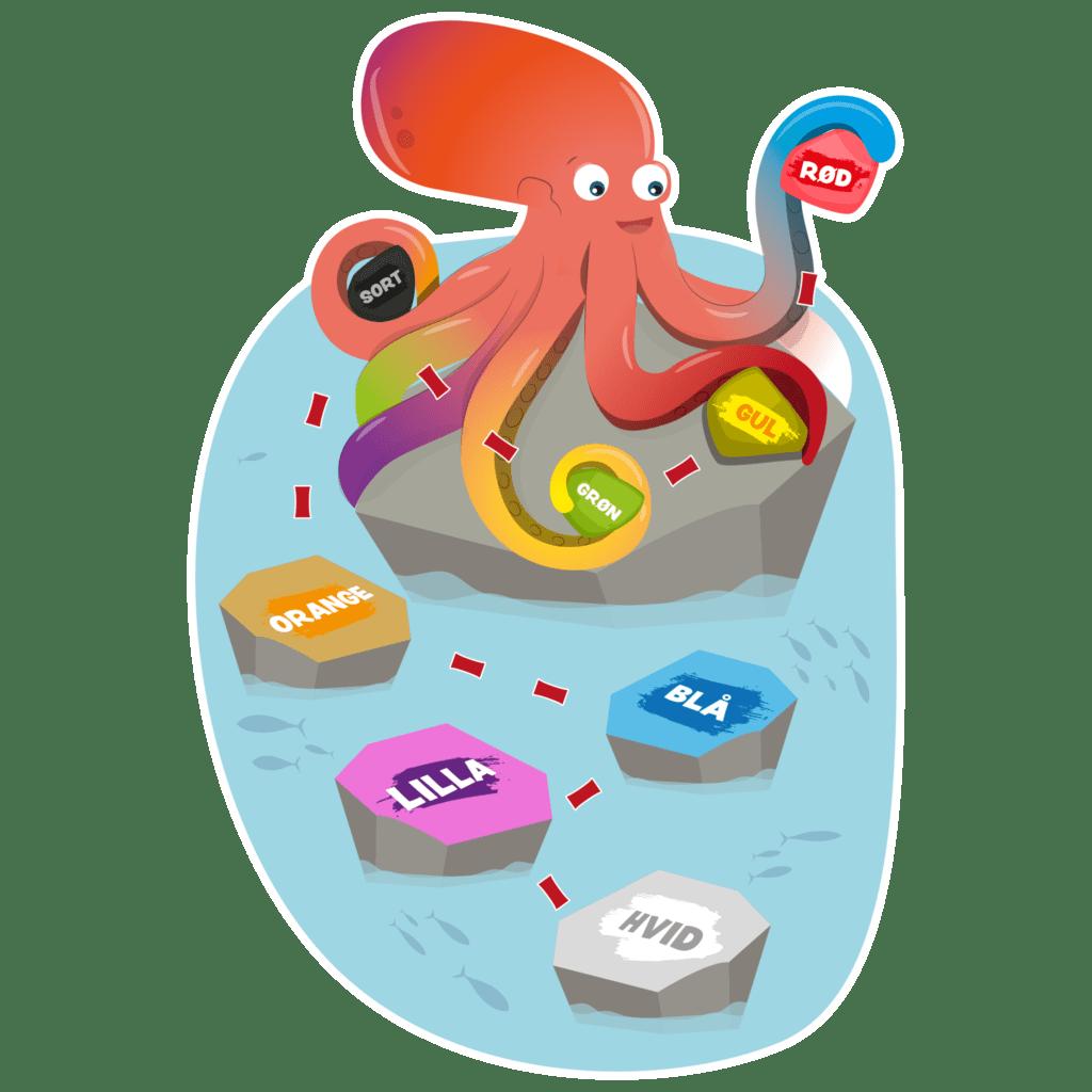 Gulvfolie med farveblæksprutte er en forhindringsbane, der kombinerer børnenes læring om farveteori med motorisk træning.