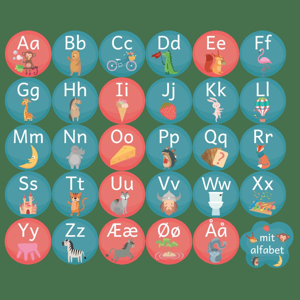 Gulvfolie i 30 dele med alfabet, som passer godt ind i daginstitutionen. Store og små bogstaver med flotte illustrationer.