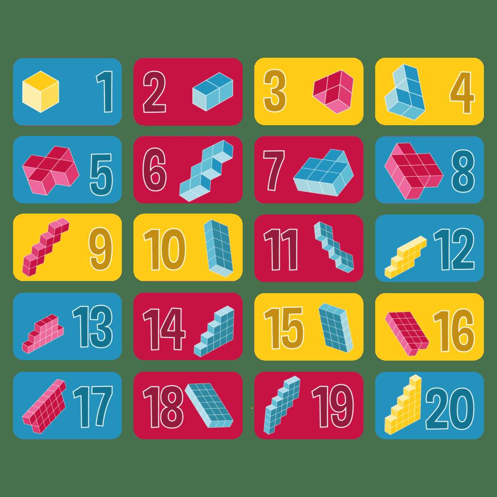 Gulvfolie med tællekuber er en visuel måde at lære børnene i daginstitutionen at tælle og skabe matematisk interesse.