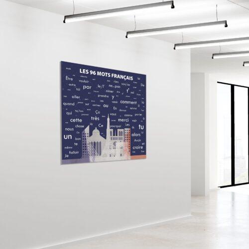Akustikbillede 96 franske ord 120x120cm