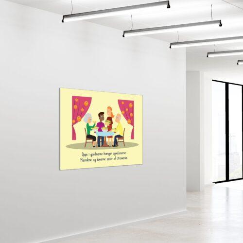 Akustikbillede Rim Oppe i gardinerne 90x120cm