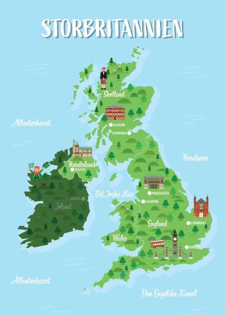 Kort storbritannienkort skilteplade 1400x1000