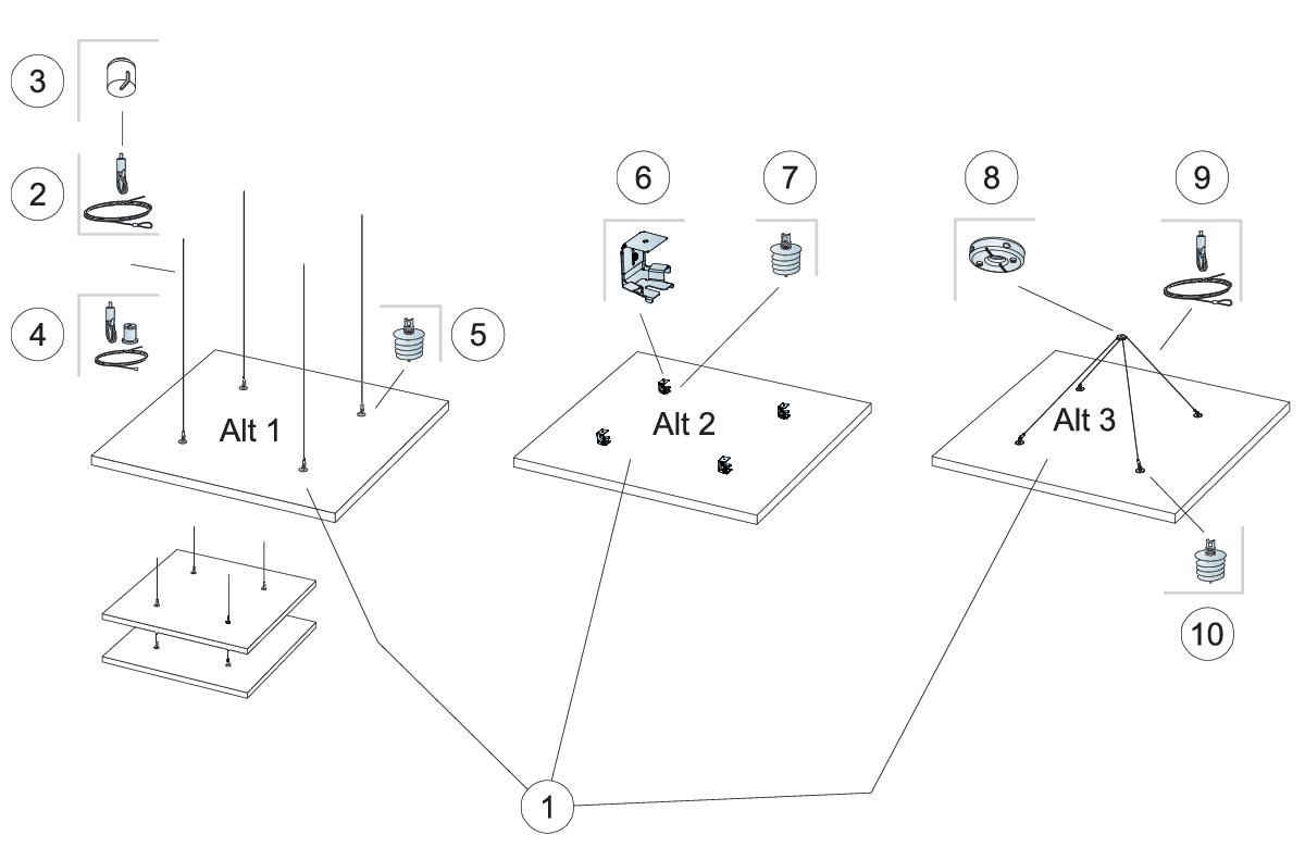 Komplet beslag, direkte montering (M402)