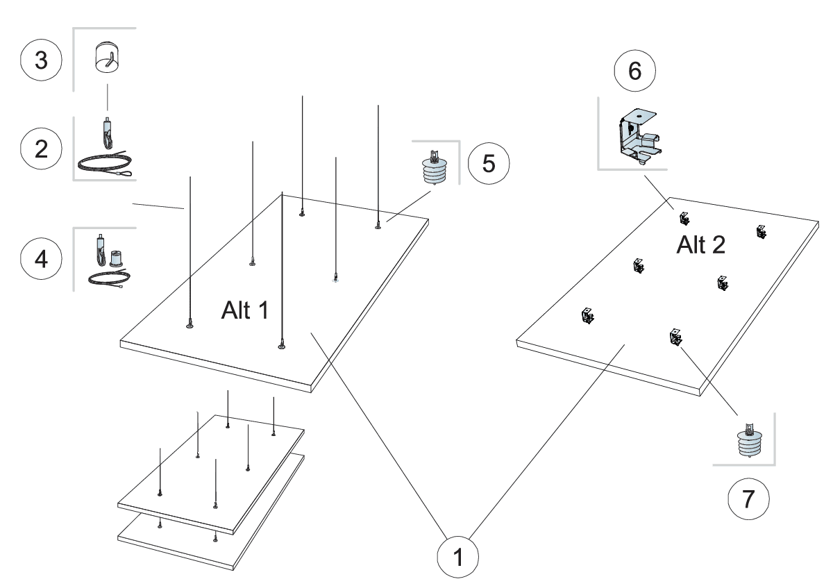 Komplet beslag, justerbar wirekit (M404)