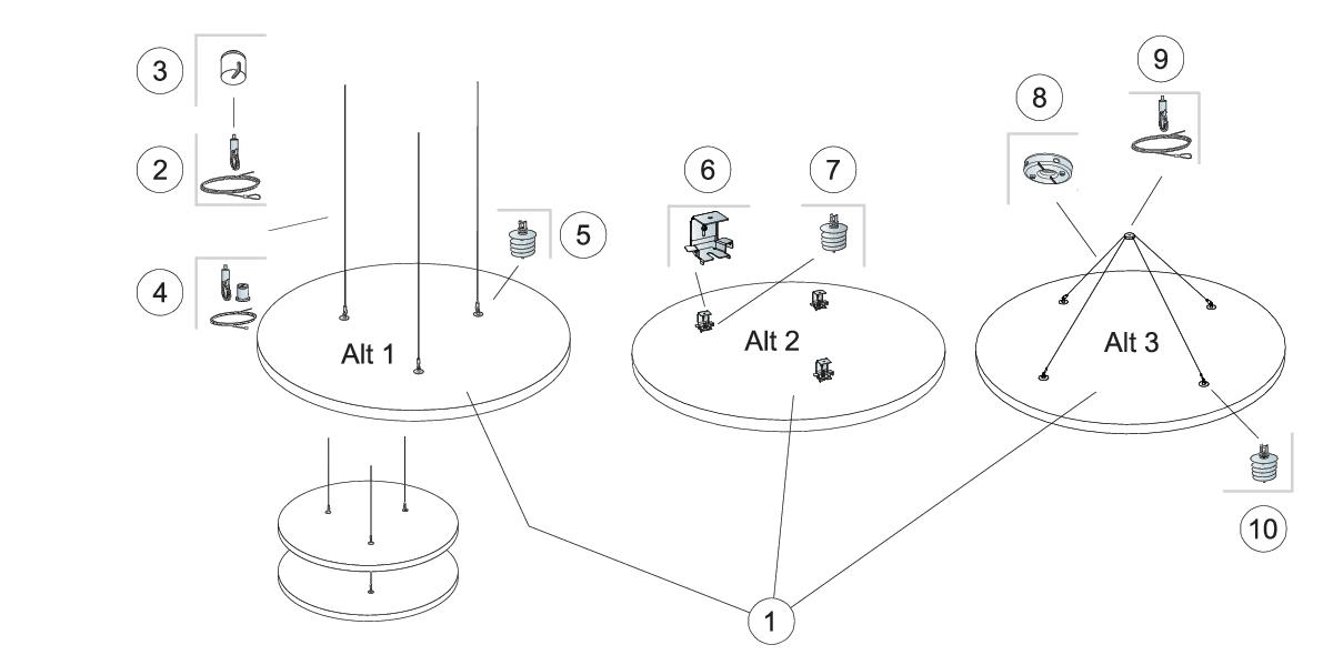 Komplet beslag, direkte montering (M410)
