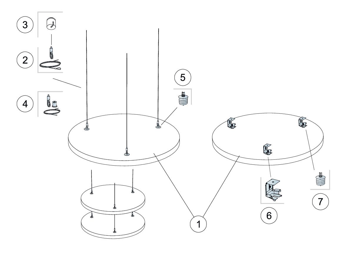 Komplet beslag, justerbar wirekit (M411)