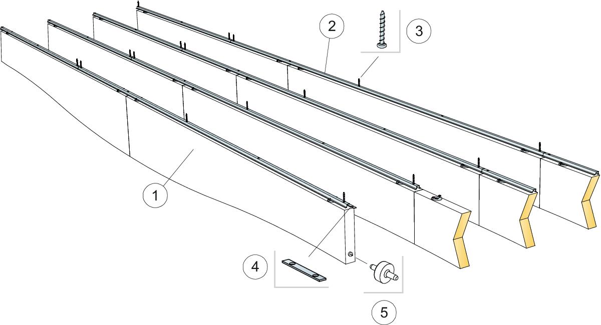 Komplet beslag, direkte montering (M419)