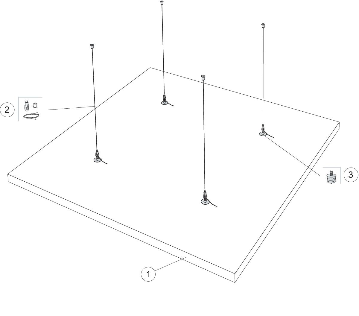 Komplet beslag, justerbar wirekit (M507)