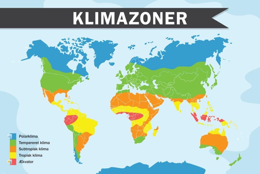 Naturfag Klimazoner Skilteplade 1000x1500