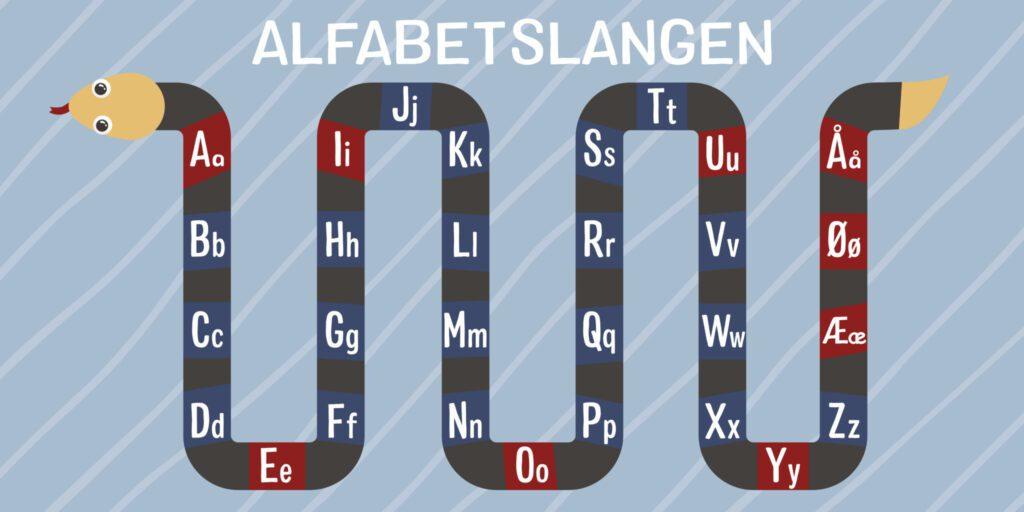 Skilteplade med illustration af Alfabetslange. Perfekt til at skabe interesse for alfabetet hos børn i daginstitutionen.