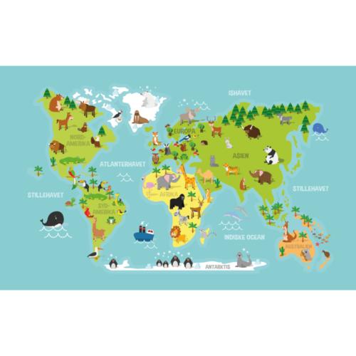 Dyrenes verdenskort - Vægfolie-0