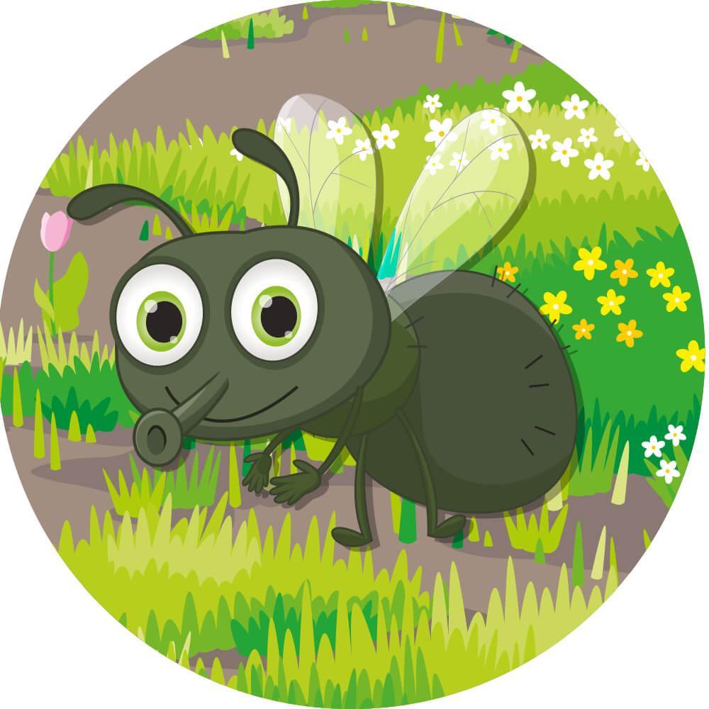 Runde insekter, 5 stk. - Skilteplade-25112