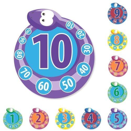 Runde tabeller med tallene 1-10 - Pakke med 10 stk.-0
