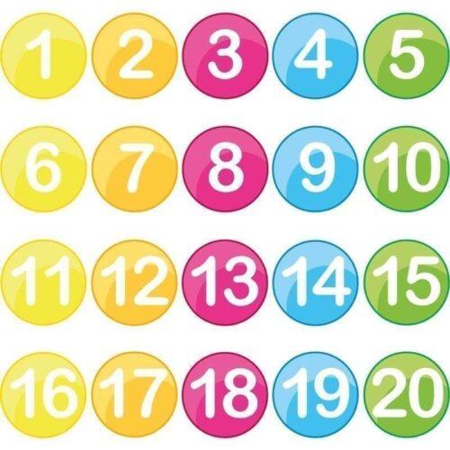 Farverige runde tal - Gulvfolie-0