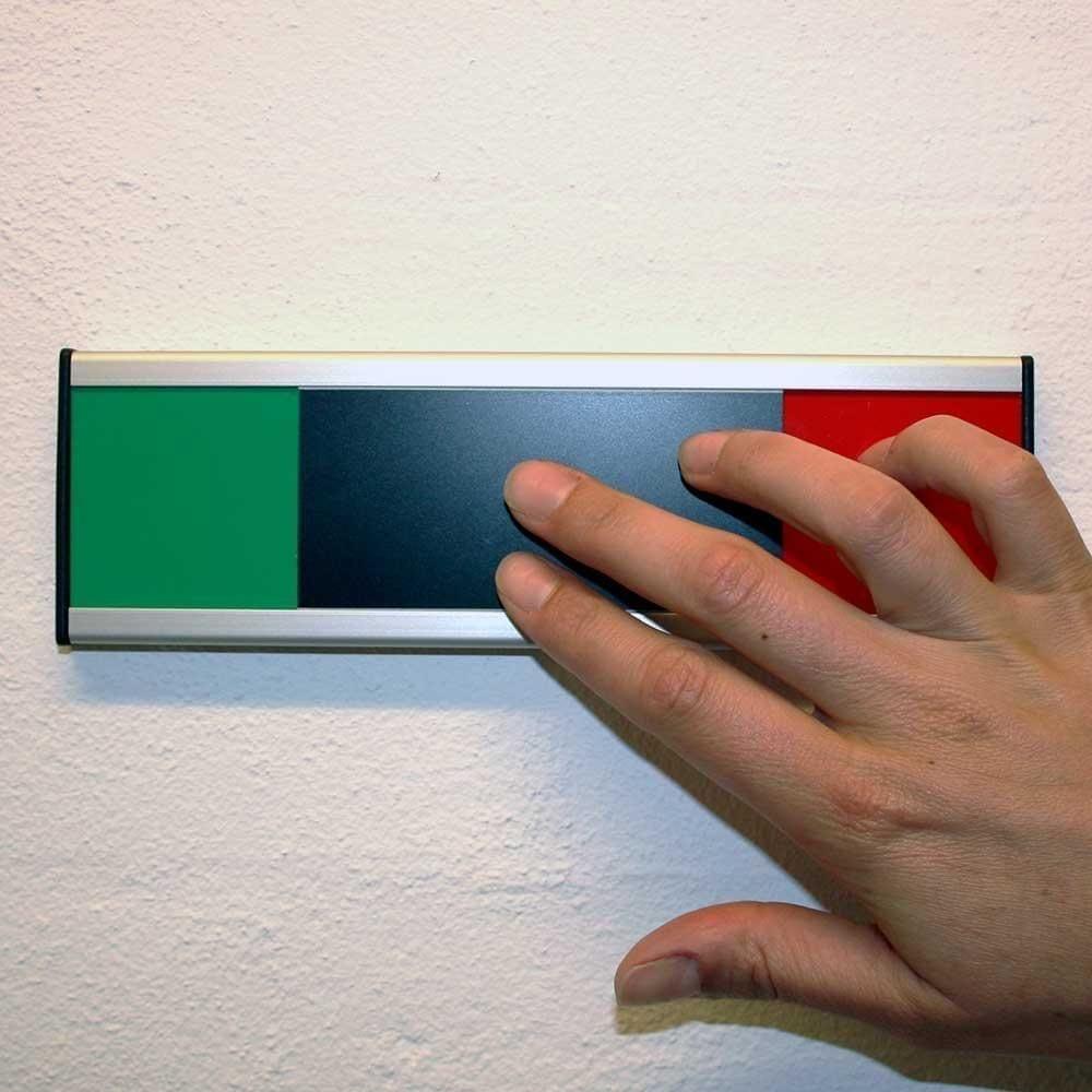 Mødeskilt Klassisk med rød/grøn skyder - 6,2 x 20 cm-22798