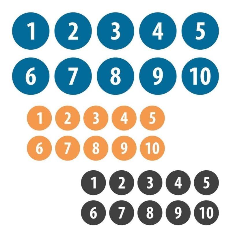 Tallene 1-10, Ø15 cm - Gulvfolie-0