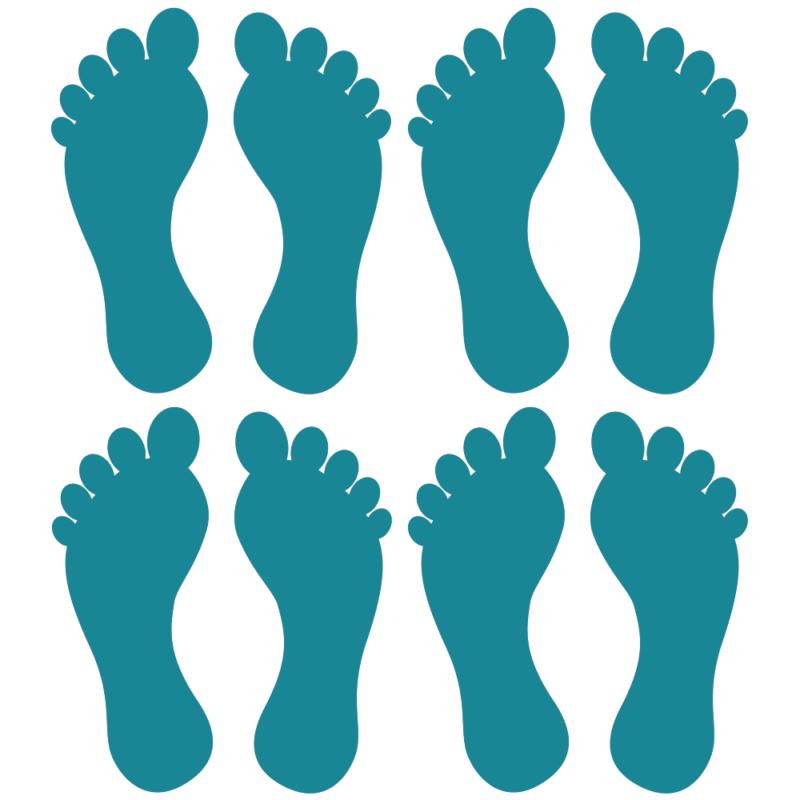 Fødder i 4 farver - Gulvfolie, pakke med 16 stk.-28098